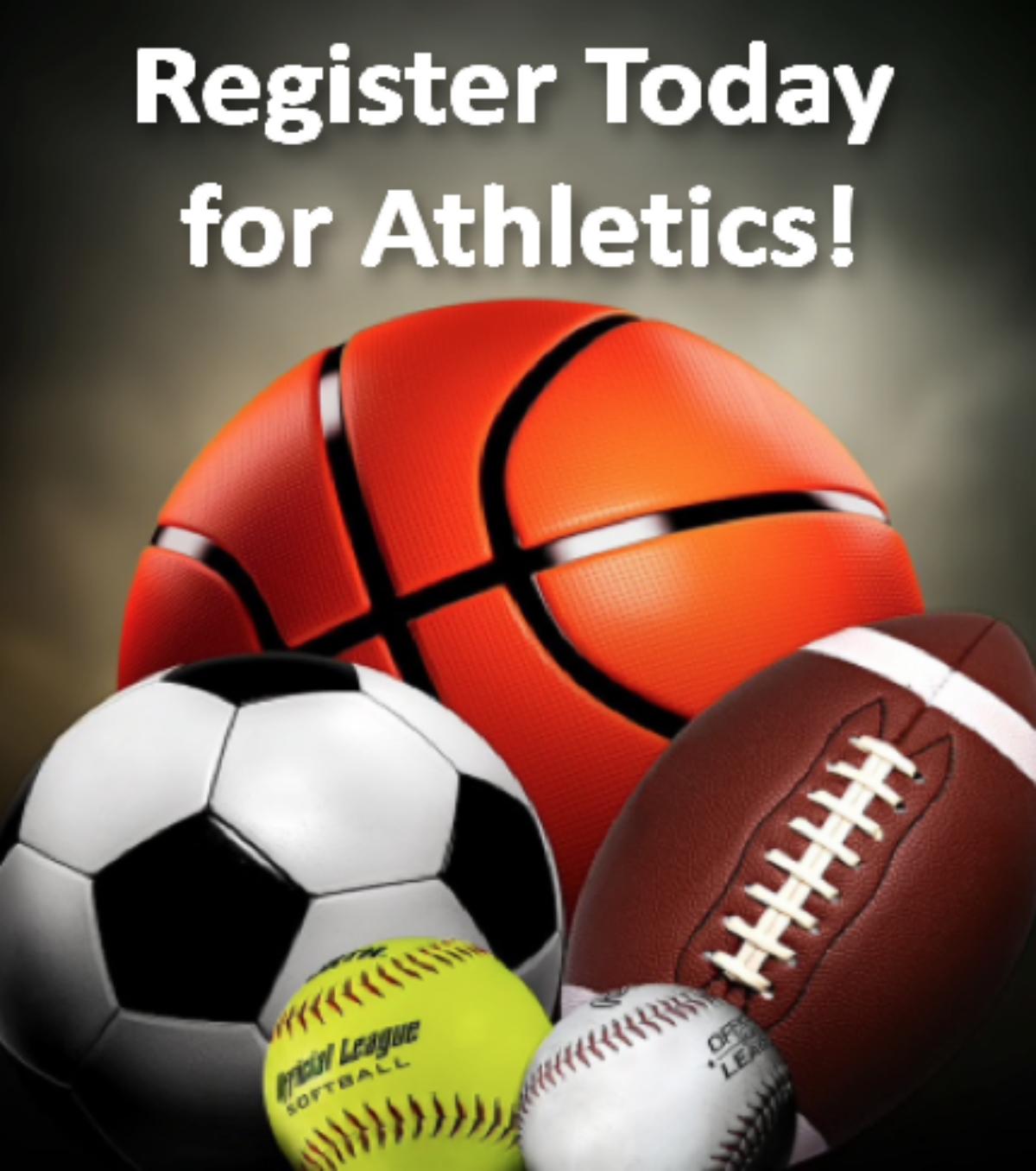 Register Today for Athletics! A basketball, soccer ball, football, tennis ball and a baseball